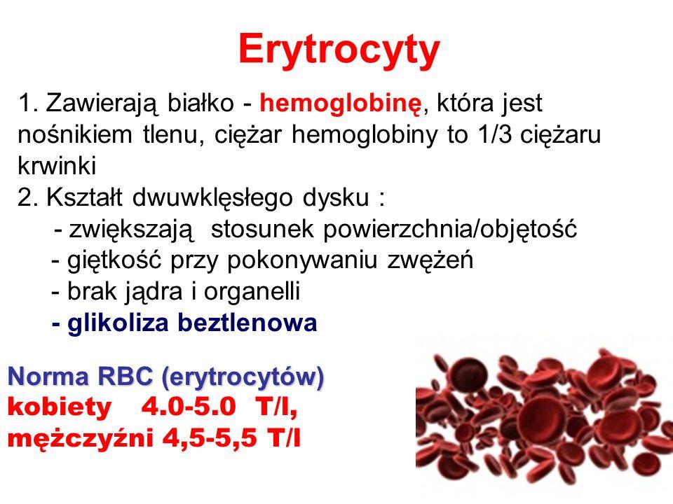 Norma RBC (erytrocytów) kobiety 4.0-5.0 T/l, mężczyźni 4,5-5,5 T/l Erytrocyty 1. Zawierają białko - hemoglobinę, która jest nośnikiem tlenu, ciężar he