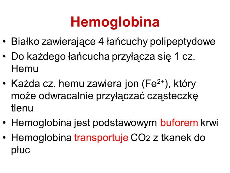 Hemoglobina Białko zawierające 4 łańcuchy polipeptydowe Do każdego łańcucha przyłącza się 1 cz. Hemu Każda cz. hemu zawiera jon (Fe 2+ ), który może o