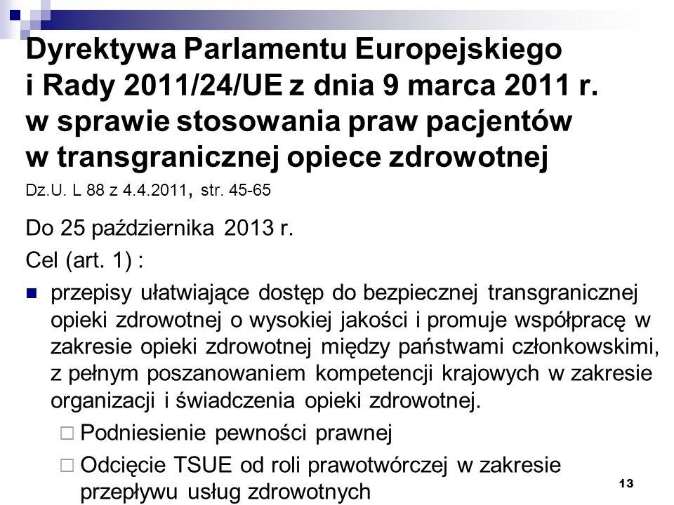 Dyrektywa Parlamentu Europejskiego i Rady 2011/24/UE z dnia 9 marca 2011 r. w sprawie stosowania praw pacjentów w transgranicznej opiece zdrowotnej Dz