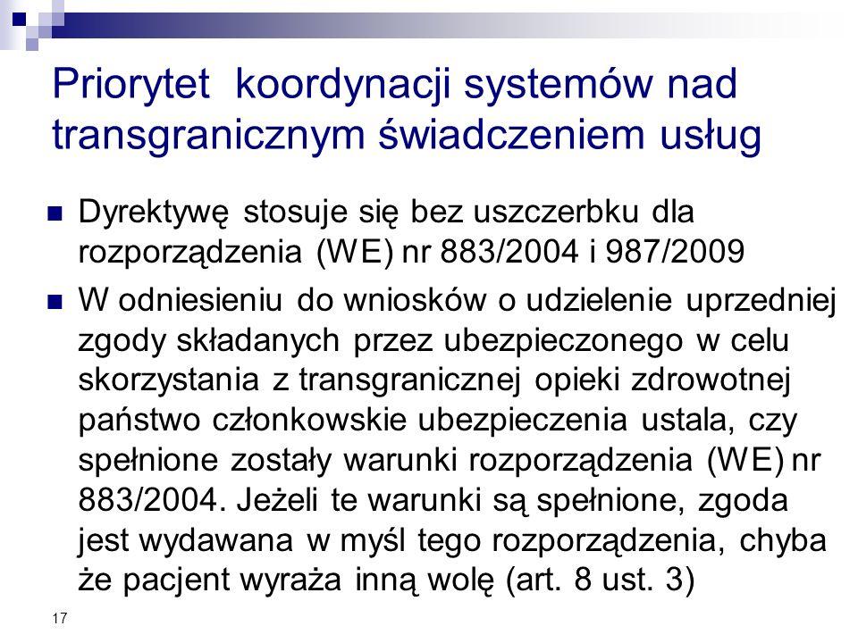 Priorytet koordynacji systemów nad transgranicznym świadczeniem usług Dyrektywę stosuje się bez uszczerbku dla rozporządzenia (WE) nr 883/2004 i 987/2