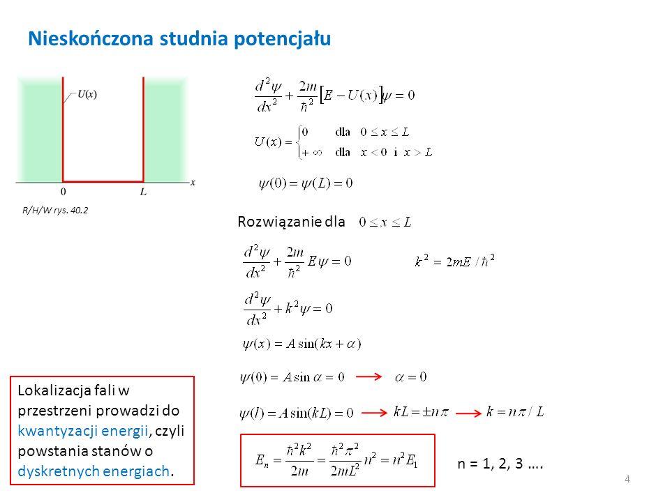 4 Nieskończona studnia potencjału R/H/W rys. 40.2 Rozwiązanie dla n = 1, 2, 3 …. Lokalizacja fali w przestrzeni prowadzi do kwantyzacji energii, czyli