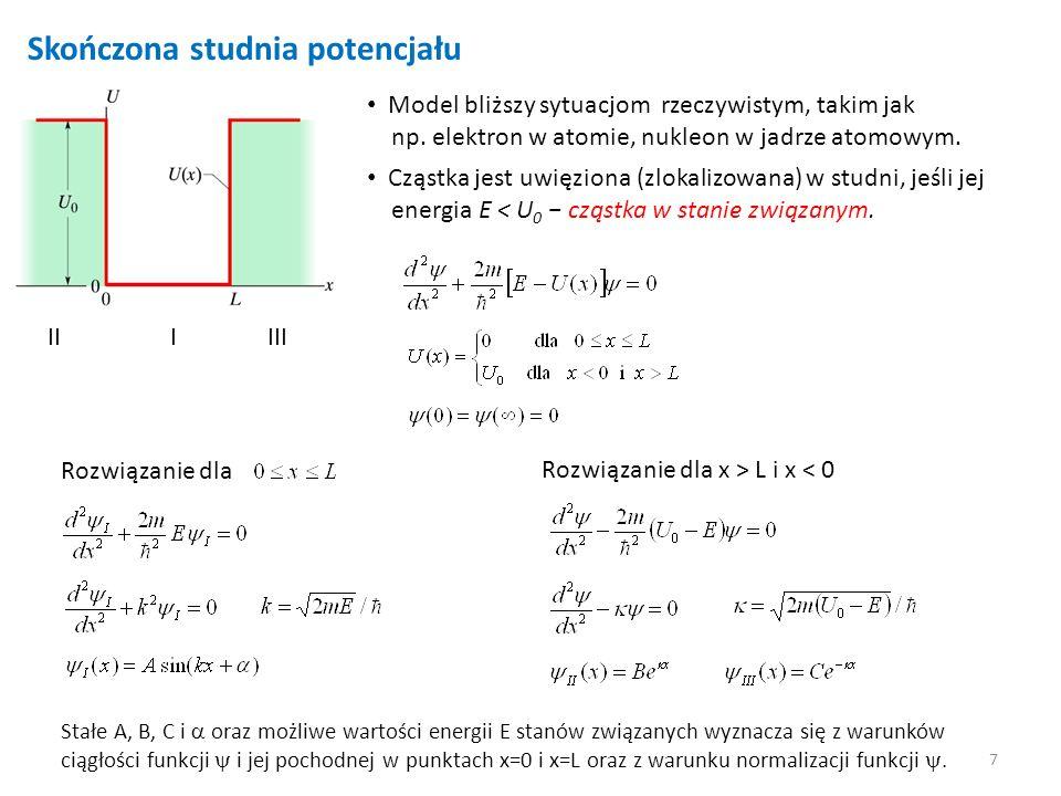 7 Skończona studnia potencjału Model bliższy sytuacjom rzeczywistym, takim jak np. elektron w atomie, nukleon w jadrze atomowym. Cząstka jest uwięzion