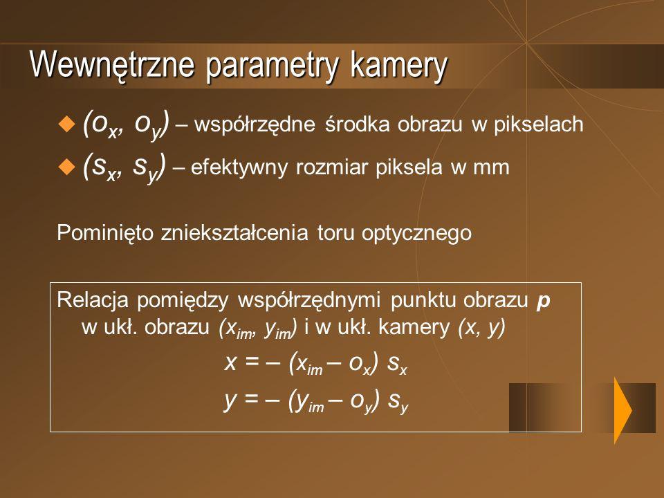 Wewnętrzne parametry kamery (o x, o y ) – współrzędne środka obrazu w pikselach (s x, s y ) – efektywny rozmiar piksela w mm Pominięto zniekształcenia