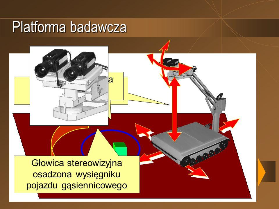 Platforma badawcza Pięć stopni swobody platformy Obserwowana scena 3D Głowica stereowizyjna osadzona wysięgniku pojazdu gąsiennicowego
