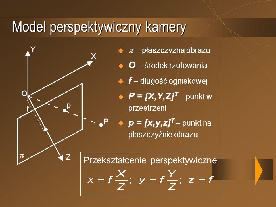 Model perspektywiczny kamery – płaszczyzna obrazu O – środek rzutowania f – długość ogniskowej P = [X,Y,Z] T – punkt w przestrzeni p = [x,y,z] T – pun