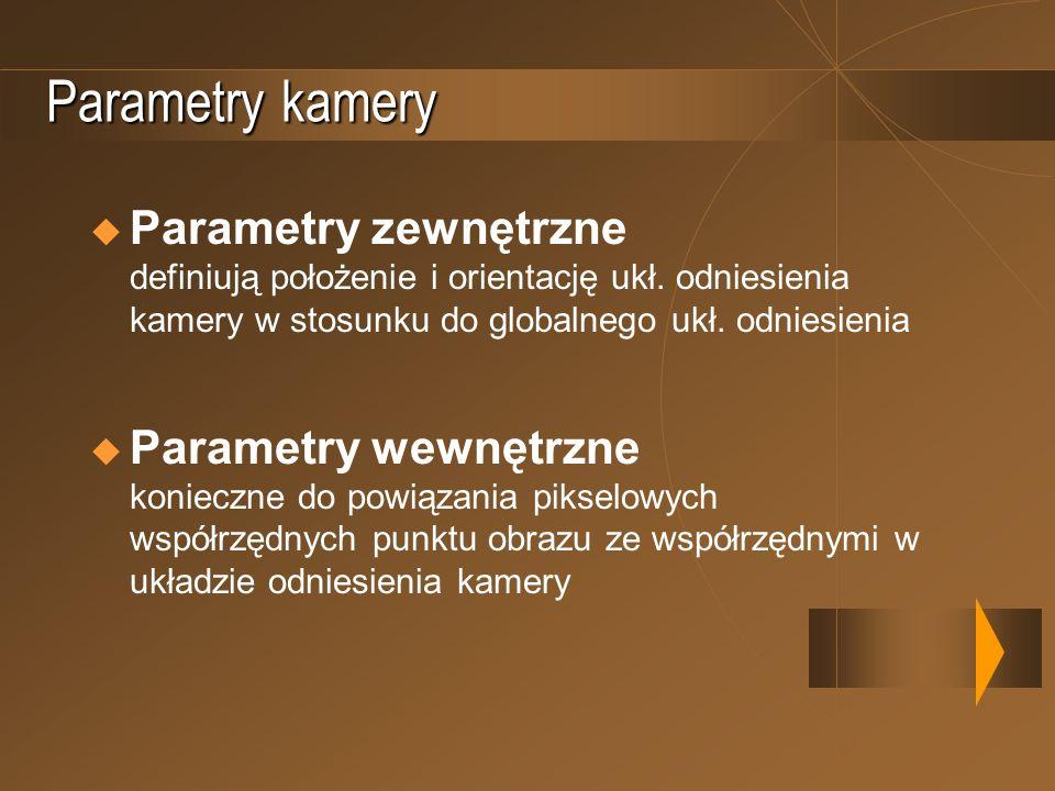 Parametry kamery Parametry zewnętrzne definiują położenie i orientację ukł. odniesienia kamery w stosunku do globalnego ukł. odniesienia Parametry wew