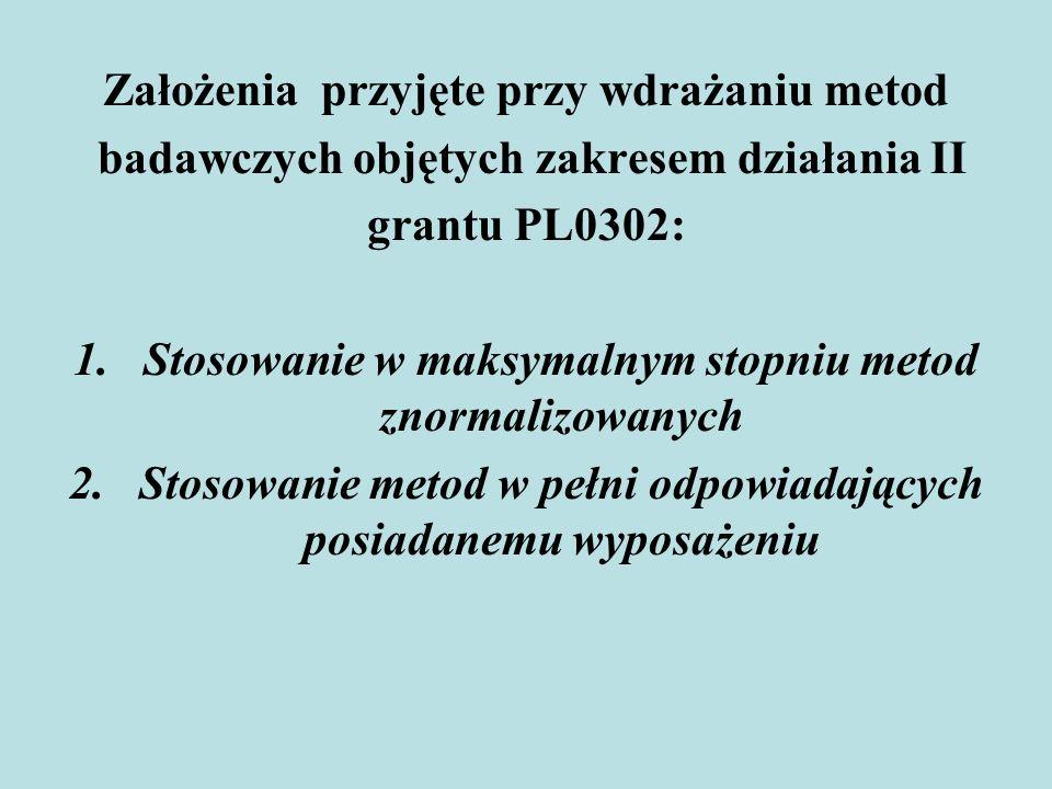 Założenia przyjęte przy wdrażaniu metod badawczych objętych zakresem działania II grantu PL0302: 1.Stosowanie w maksymalnym stopniu metod znormalizowa