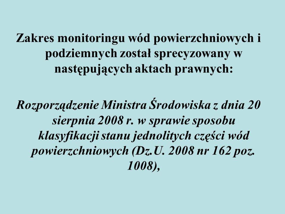 Zakres monitoringu wód powierzchniowych i podziemnych został sprecyzowany w następujących aktach prawnych: Rozporządzenie Ministra Środowiska z dnia 2