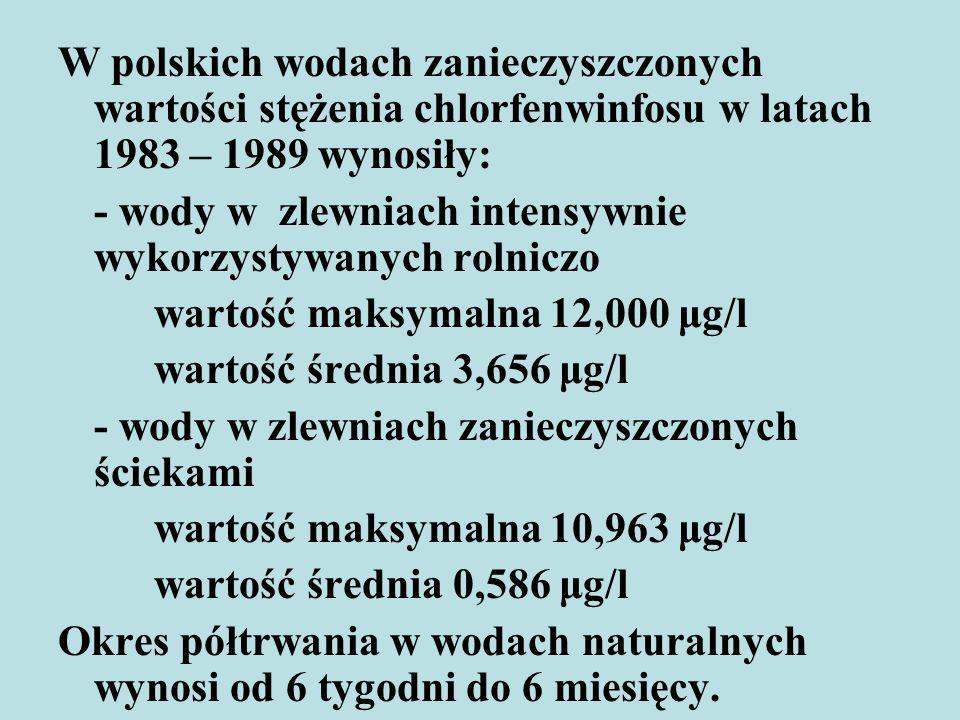 W polskich wodach zanieczyszczonych wartości stężenia chlorfenwinfosu w latach 1983 – 1989 wynosiły: - wody w zlewniach intensywnie wykorzystywanych r