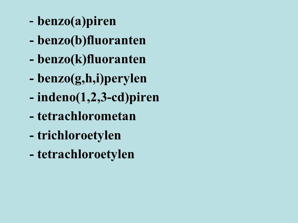 - benzo(a)piren - benzo(b)fluoranten - benzo(k)fluoranten - benzo(g,h,i)perylen - indeno(1,2,3-cd)piren - tetrachlorometan - trichloroetylen - tetrach