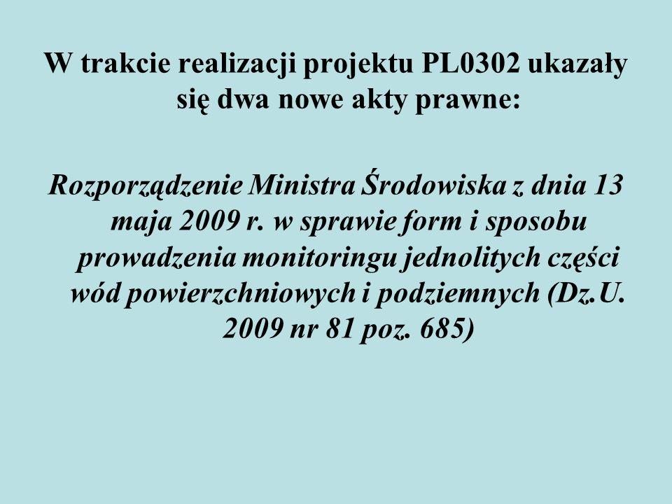 W trakcie realizacji projektu PL0302 ukazały się dwa nowe akty prawne: Rozporządzenie Ministra Środowiska z dnia 13 maja 2009 r. w sprawie form i spos