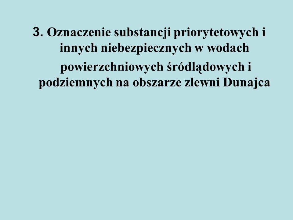 3. Oznaczenie substancji priorytetowych i innych niebezpiecznych w wodach powierzchniowych śródlądowych i podziemnych na obszarze zlewni Dunajca