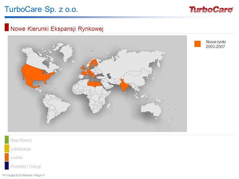 Privileged & Confidential – Page 11 TurboCare Sp. z o.o. Nasi KlienciLokalizacje Ludzie Produkty i Usługi Nowe Kierunki Ekspansji Rynkowej Nowe rynki