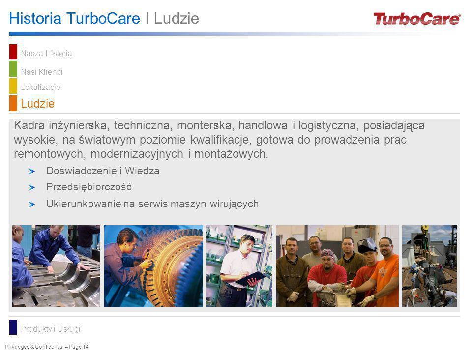 Privileged & Confidential – Page 14 Historia TurboCare l Ludzie Kadra inżynierska, techniczna, monterska, handlowa i logistyczna, posiadająca wysokie,