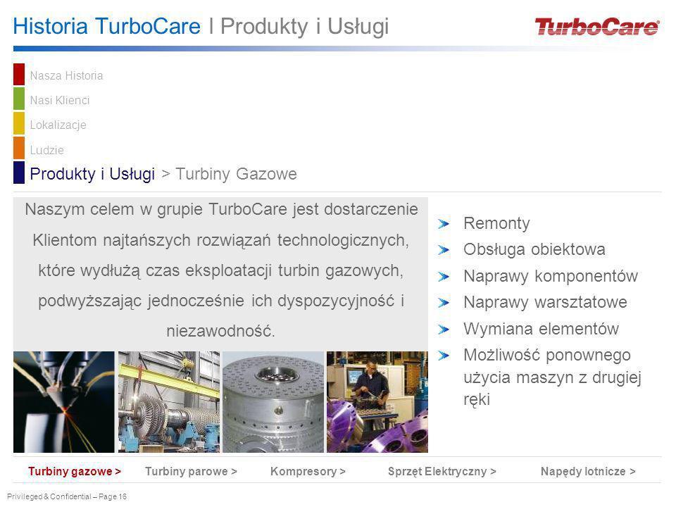 Privileged & Confidential – Page 16 Historia TurboCare l Produkty i Usługi Remonty Obsługa obiektowa Naprawy komponentów Naprawy warsztatowe Wymiana e