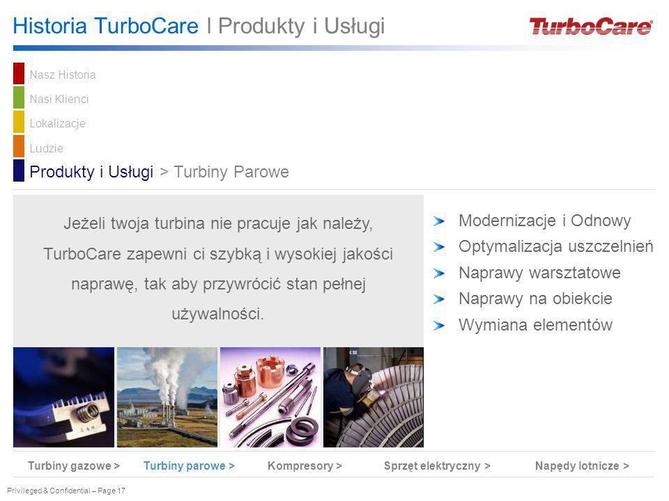 Privileged & Confidential – Page 17 Historia TurboCare l Produkty i Usługi Modernizacje i Odnowy Optymalizacja uszczelnień Naprawy warsztatowe Naprawy