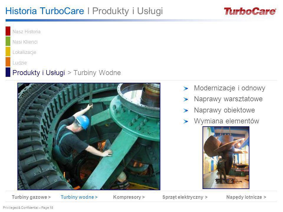 Privileged & Confidential – Page 18 Historia TurboCare l Produkty i Usługi Modernizacje i odnowy Naprawy warsztatowe Naprawy obiektowe Wymiana element