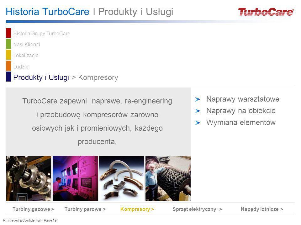 Privileged & Confidential – Page 19 Naprawy warsztatowe Naprawy na obiekcie Wymiana elementów Produkty i Usługi > Kompresory TurboCare zapewni naprawę