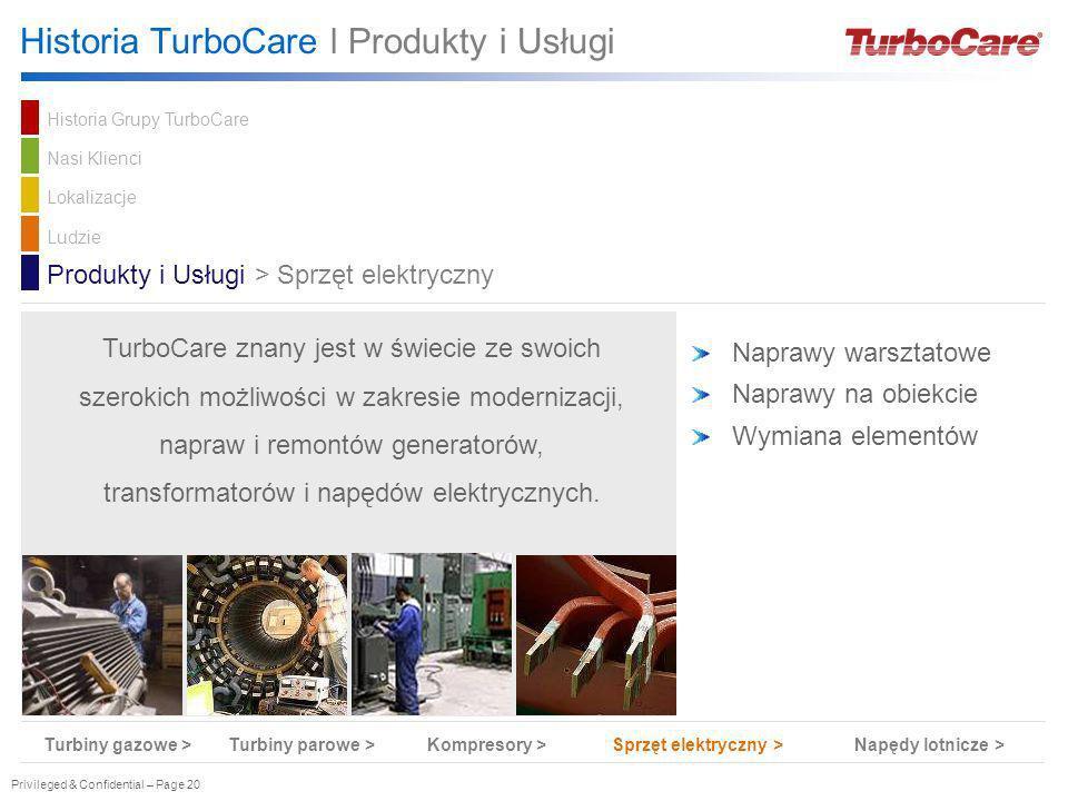 Privileged & Confidential – Page 20 Naprawy warsztatowe Naprawy na obiekcie Wymiana elementów Produkty i Usługi > Sprzęt elektryczny TurboCare znany j