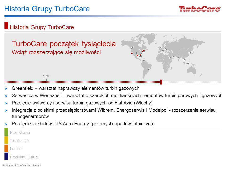 Privileged & Confidential – Page 4 Historia Grupy TurboCare TurboCare TurboCare początek tysiąclecia Wciąż rozszerzające się możliwości Greenfield – w