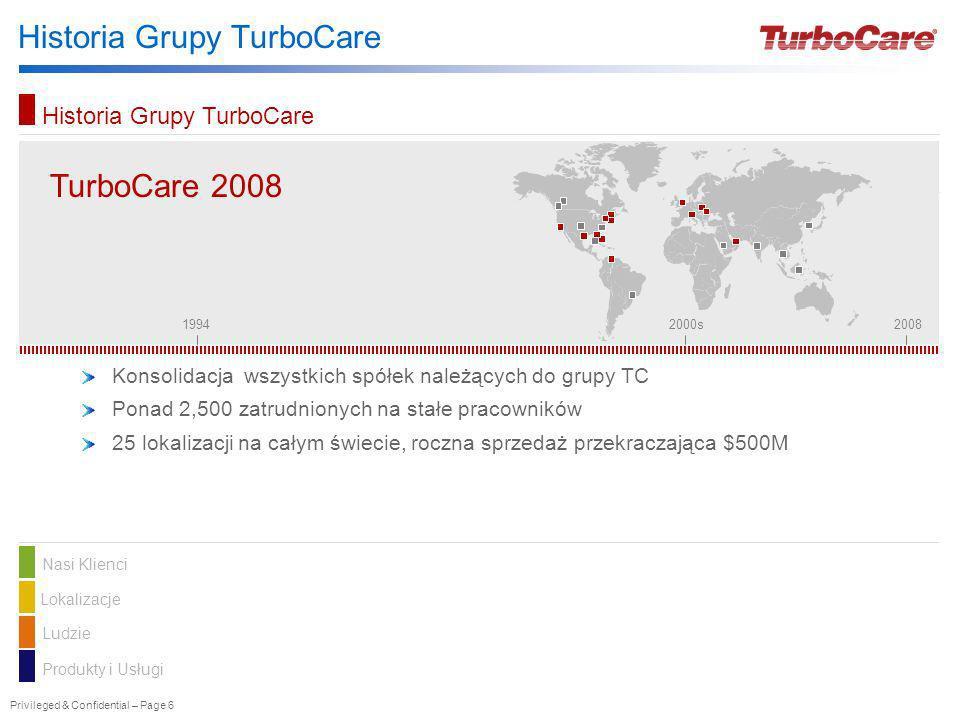 Privileged & Confidential – Page 6 Historia Grupy TurboCare TurboCare TurboCare 2008 Konsolidacja wszystkich spółek należących do grupy TC Ponad 2,500