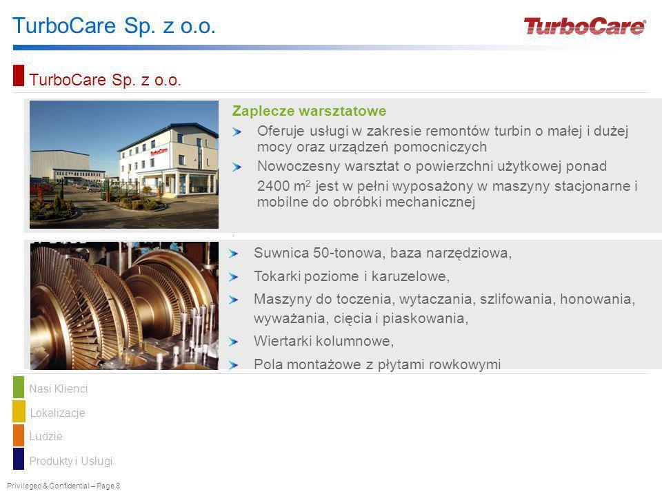 Privileged & Confidential – Page 8 TurboCare Sp. z o.o. Nasi KlienciLokalizacje Ludzie Produkty i Usługi TurboCare Sp. z o.o. Zaplecze warsztatowe Ofe