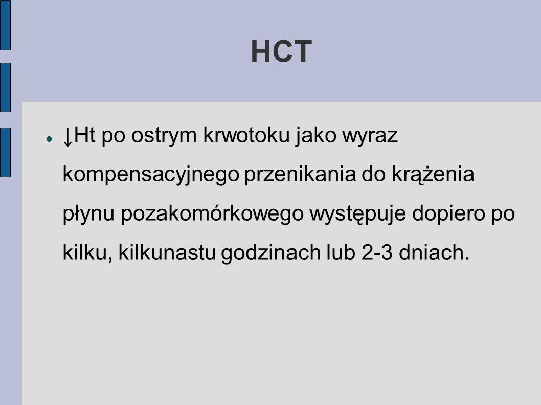 HCT Ht po ostrym krwotoku jako wyraz kompensacyjnego przenikania do krążenia płynu pozakomórkowego występuje dopiero po kilku, kilkunastu godzinach lu