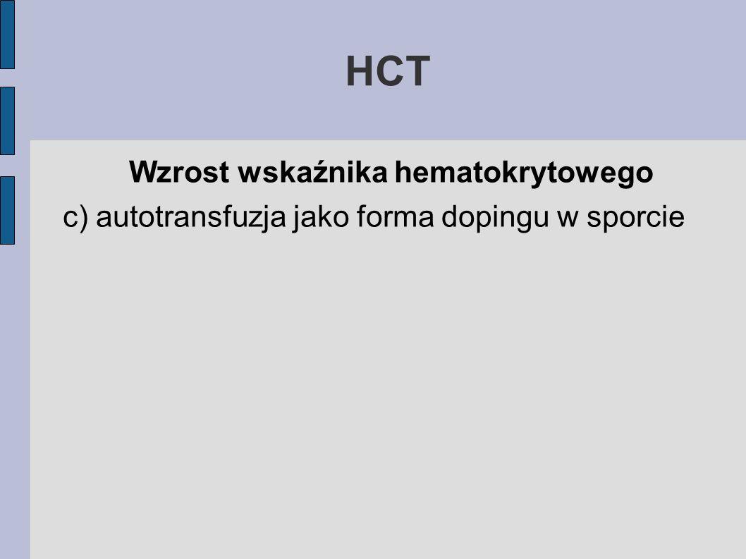 HCT Wzrost wskaźnika hematokrytowego c) autotransfuzja jako forma dopingu w sporcie