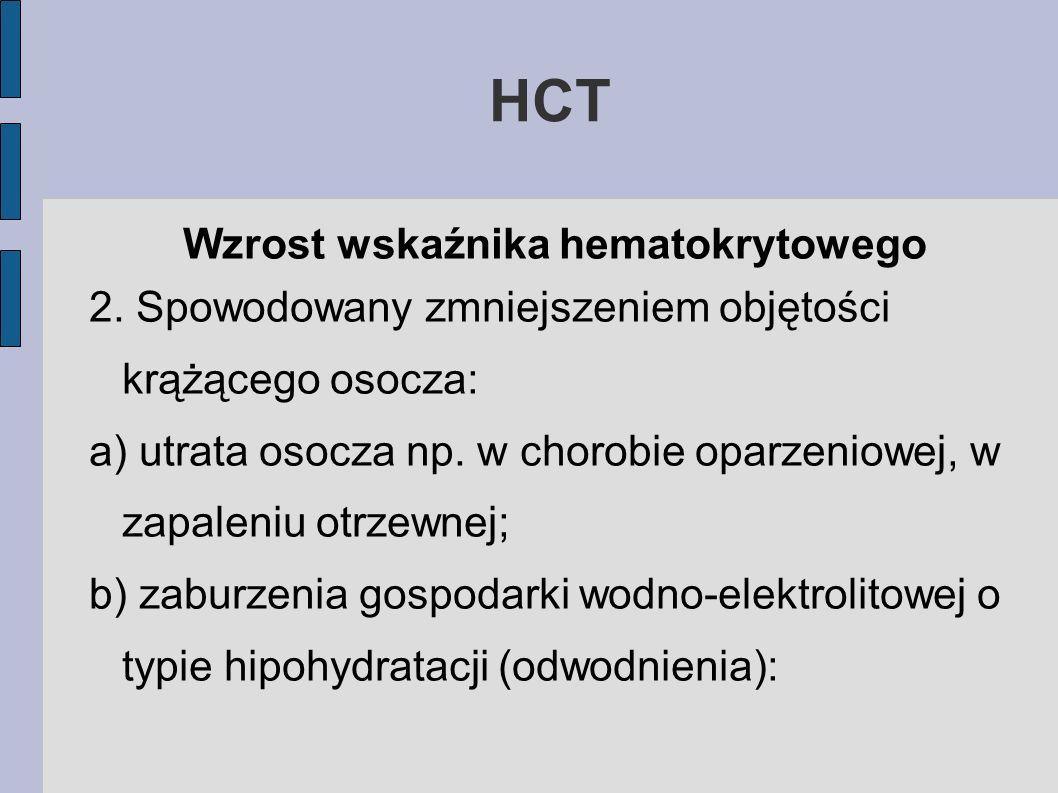 HCT Wzrost wskaźnika hematokrytowego 2. Spowodowany zmniejszeniem objętości krążącego osocza: a) utrata osocza np. w chorobie oparzeniowej, w zapaleni