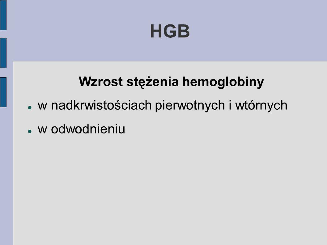 HGB Wzrost stężenia hemoglobiny w nadkrwistościach pierwotnych i wtórnych w odwodnieniu