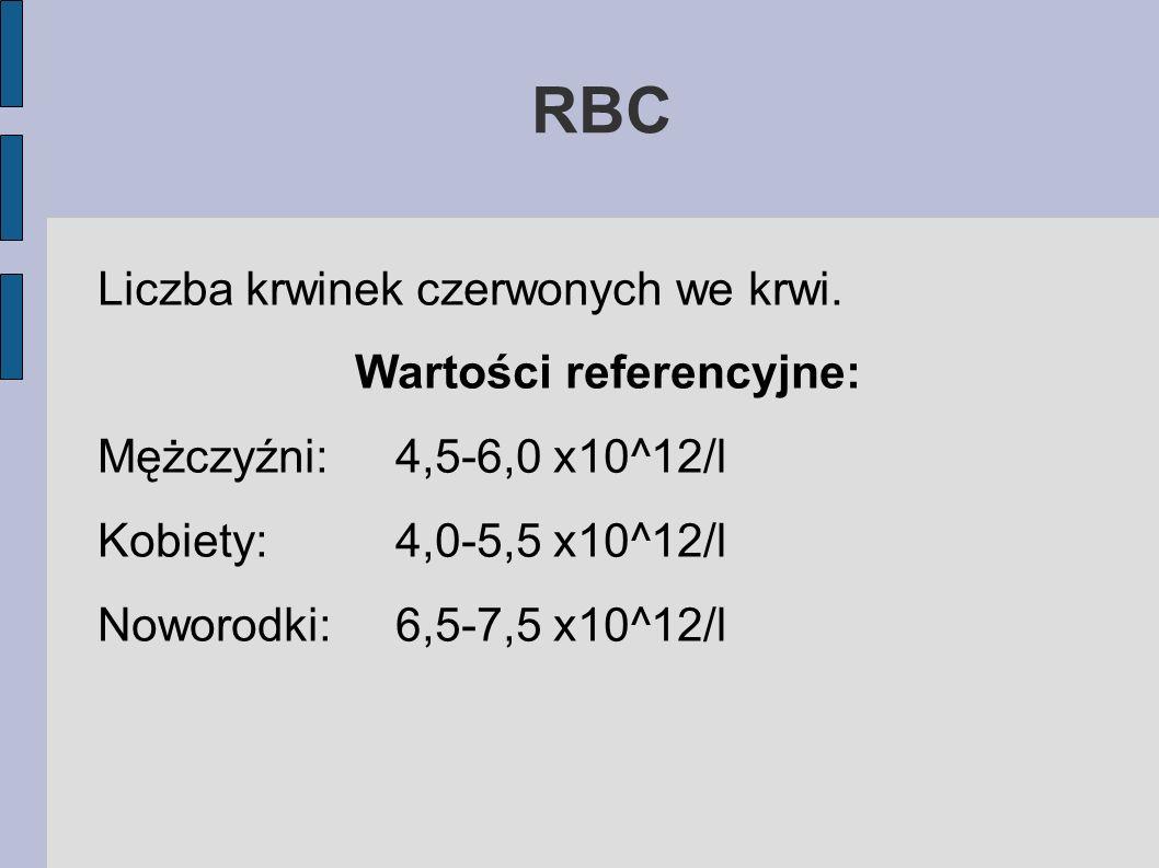 RBC Liczba krwinek czerwonych we krwi. Wartości referencyjne: Mężczyźni:4,5-6,0 x10^12/l Kobiety:4,0-5,5 x10^12/l Noworodki:6,5-7,5 x10^12/l