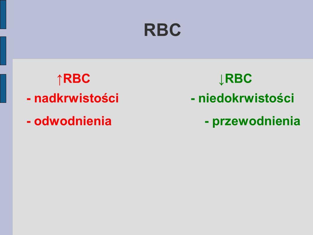 RBC RBC - nadkrwistości- niedokrwistości - odwodnienia- przewodnienia
