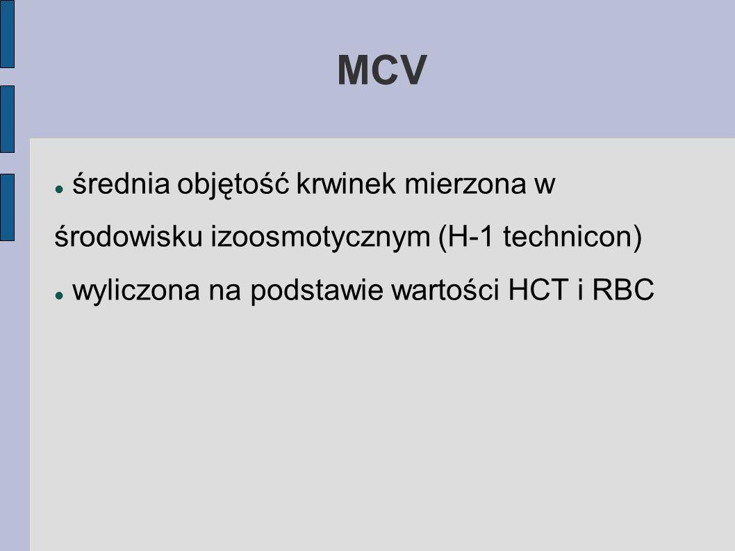 MCV średnia objętość krwinek mierzona w środowisku izoosmotycznym (H-1 technicon) wyliczona na podstawie wartości HCT i RBC