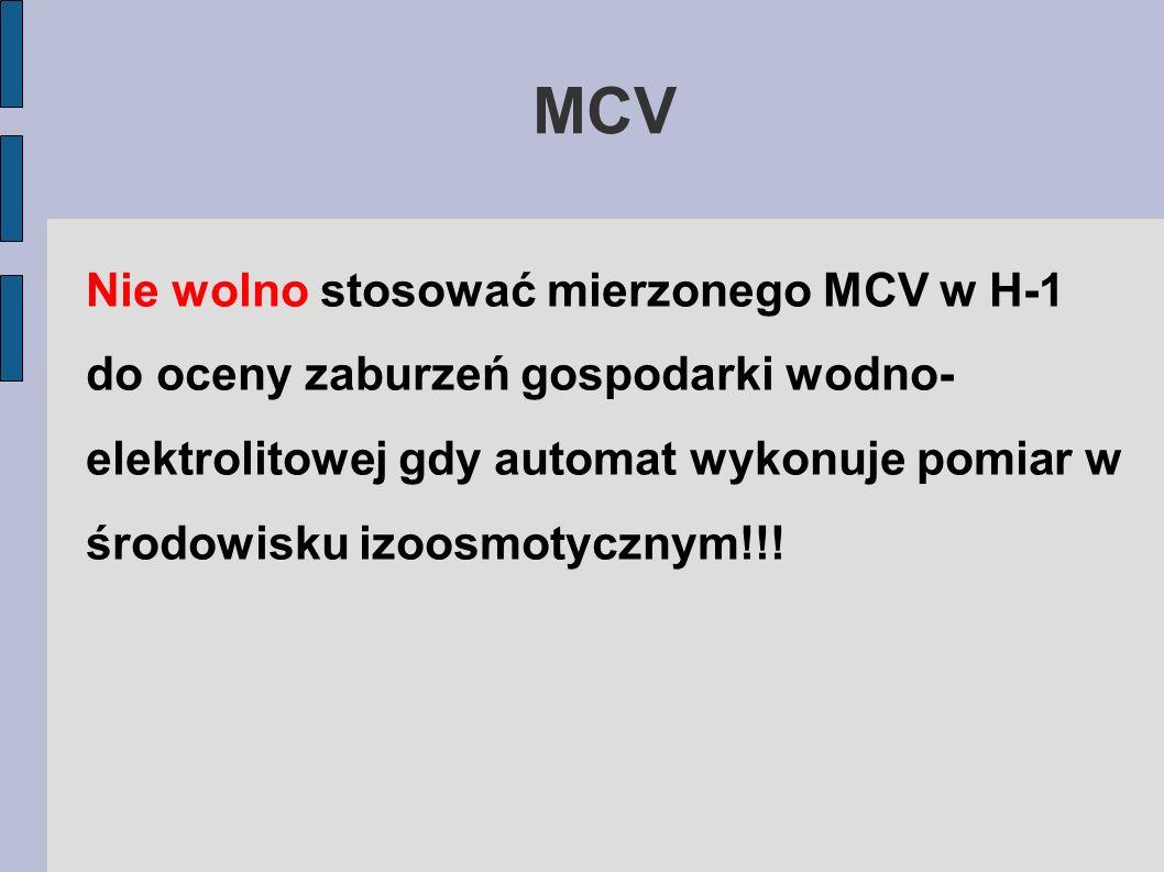MCV Nie wolno stosować mierzonego MCV w H-1 do oceny zaburzeń gospodarki wodno- elektrolitowej gdy automat wykonuje pomiar w środowisku izoosmotycznym