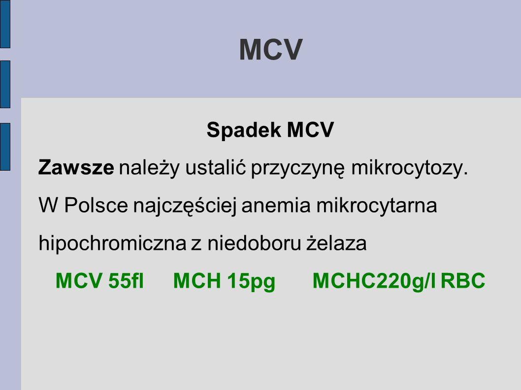 MCV Spadek MCV Zawsze należy ustalić przyczynę mikrocytozy. W Polsce najczęściej anemia mikrocytarna hipochromiczna z niedoboru żelaza MCV 55flMCH 15p