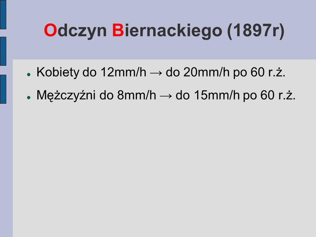 Odczyn Biernackiego (1897r) Kobiety do 12mm/h do 20mm/h po 60 r.ż. Mężczyźni do 8mm/h do 15mm/h po 60 r.ż.