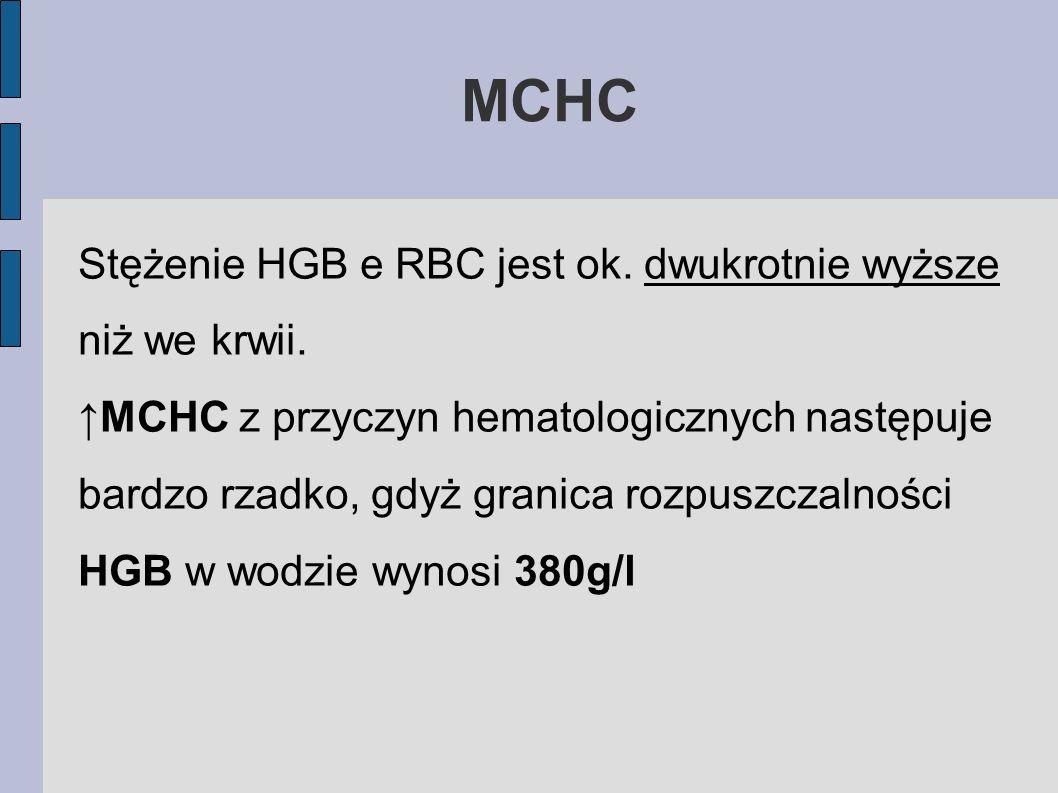 MCHC Stężenie HGB e RBC jest ok. dwukrotnie wyższe niż we krwii. MCHC z przyczyn hematologicznych następuje bardzo rzadko, gdyż granica rozpuszczalnoś