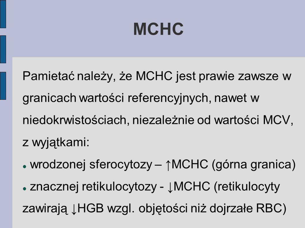 MCHC Pamietać należy, że MCHC jest prawie zawsze w granicach wartości referencyjnych, nawet w niedokrwistościach, niezależnie od wartości MCV, z wyjąt