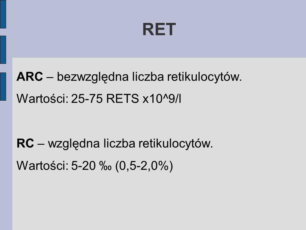 RET ARC – bezwzględna liczba retikulocytów. Wartości: 25-75 RETS x10^9/l RC – względna liczba retikulocytów. Wartości: 5-20 (0,5-2,0%)