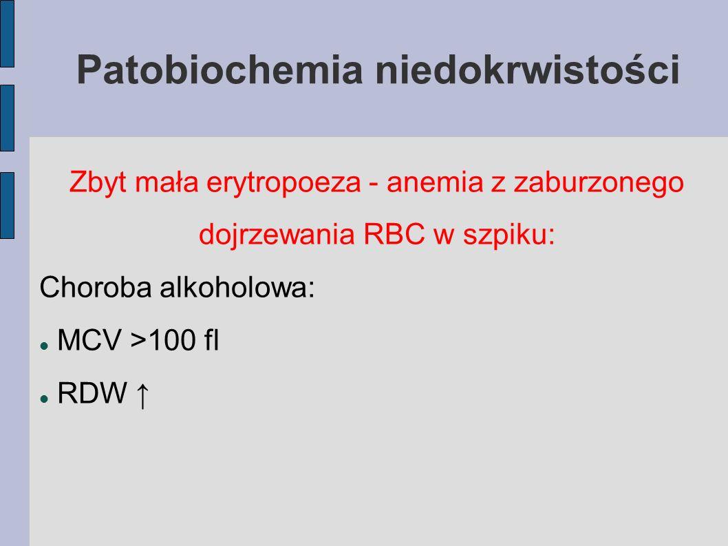Patobiochemia niedokrwistości Zbyt mała erytropoeza - anemia z zaburzonego dojrzewania RBC w szpiku: Choroba alkoholowa: MCV >100 fl RDW