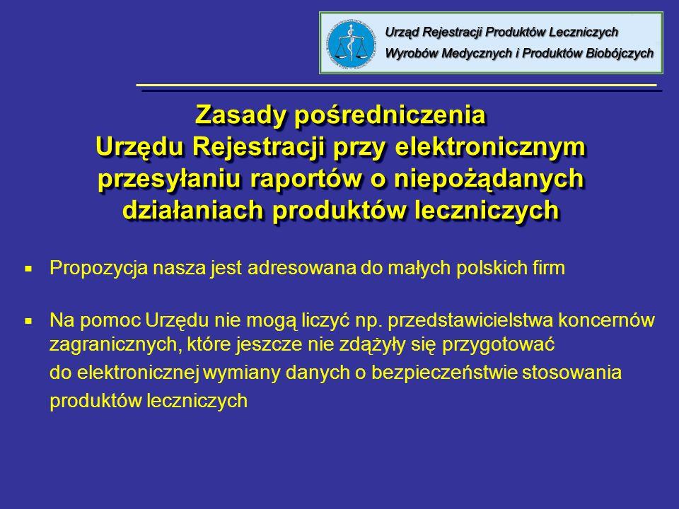 Zasady pośredniczenia Urzędu Rejestracji przy elektronicznym przesyłaniu raportów o niepożądanych działaniach produktów leczniczych Propozycja nasza j