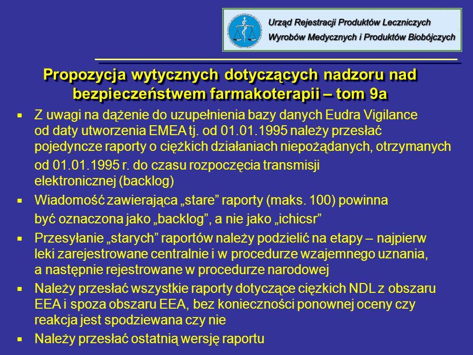 Propozycja wytycznych dotyczących nadzoru nad bezpieczeństwem farmakoterapii – tom 9a Z uwagi na dążenie do uzupełnienia bazy danych Eudra Vigilance o