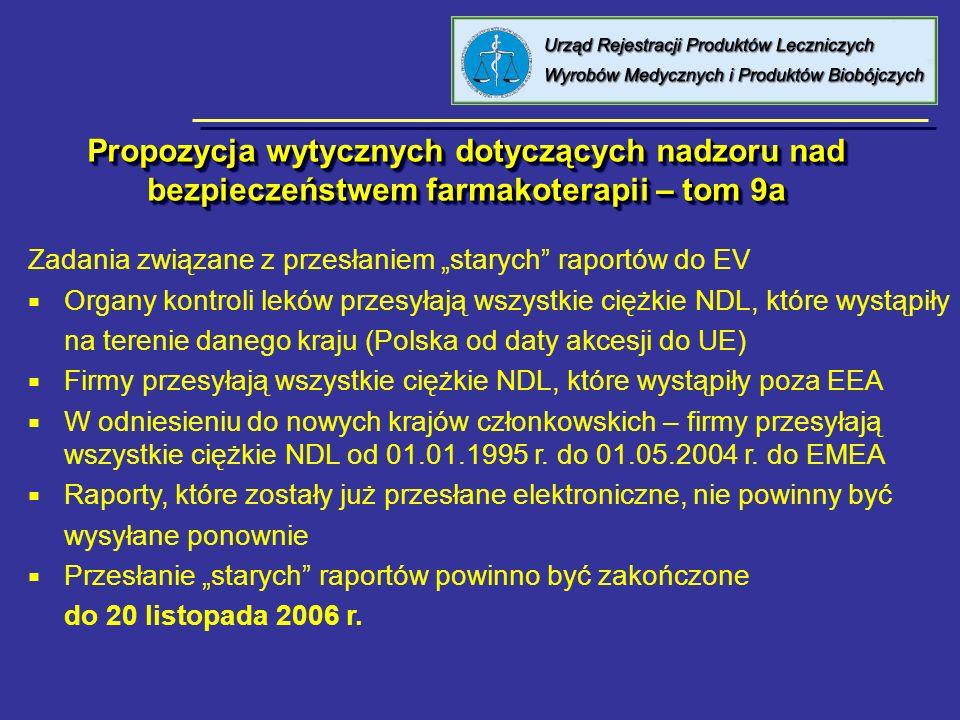 Propozycja wytycznych dotyczących nadzoru nad bezpieczeństwem farmakoterapii – tom 9a Zadania związane z przesłaniem starych raportów do EV Organy kon