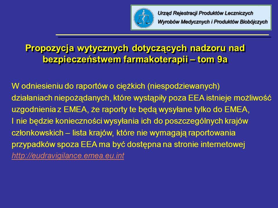 Propozycja wytycznych dotyczących nadzoru nad bezpieczeństwem farmakoterapii – tom 9a W odniesieniu do raportów o ciężkich (niespodziewanych) działani