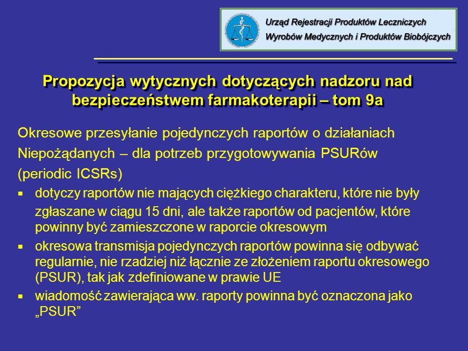 Propozycja wytycznych dotyczących nadzoru nad bezpieczeństwem farmakoterapii – tom 9a Okresowe przesyłanie pojedynczych raportów o działaniach Niepożą