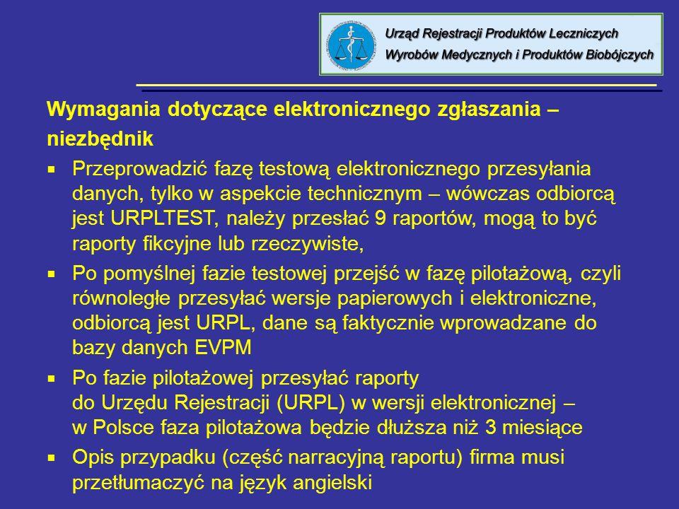 8 kwietnia 2005 Urząd Rejestracji PL, WM i PB Wymagania dotyczące elektronicznego zgłaszania – niezbędnik Przeprowadzić fazę testową elektronicznego p