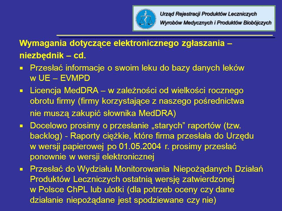 8 kwietnia 2005 Urząd Rejestracji PL, WM i PB Wymagania dotyczące elektronicznego zgłaszania – niezbędnik – cd. Przesłać informacje o swoim leku do ba