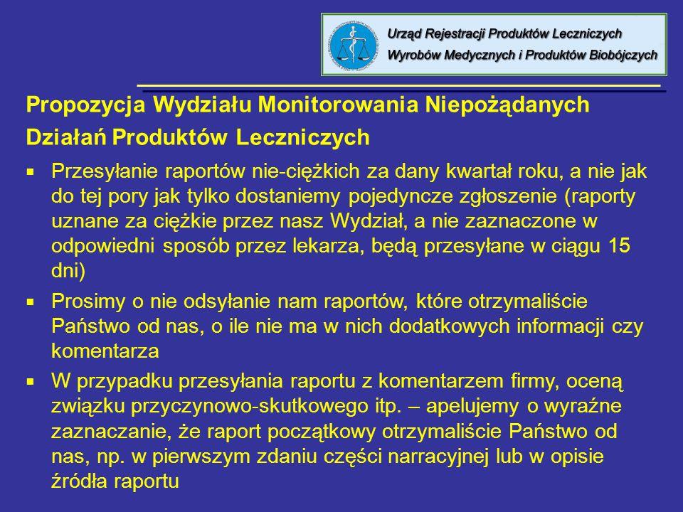 8 kwietnia 2005 Urząd Rejestracji PL, WM i PB Przesyłanie raportów nie-ciężkich za dany kwartał roku, a nie jak do tej pory jak tylko dostaniemy pojed