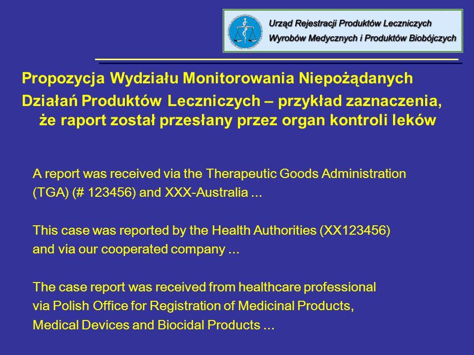 8 kwietnia 2005 Urząd Rejestracji PL, WM i PB Propozycja Wydziału Monitorowania Niepożądanych Działań Produktów Leczniczych – przykład zaznaczenia, że