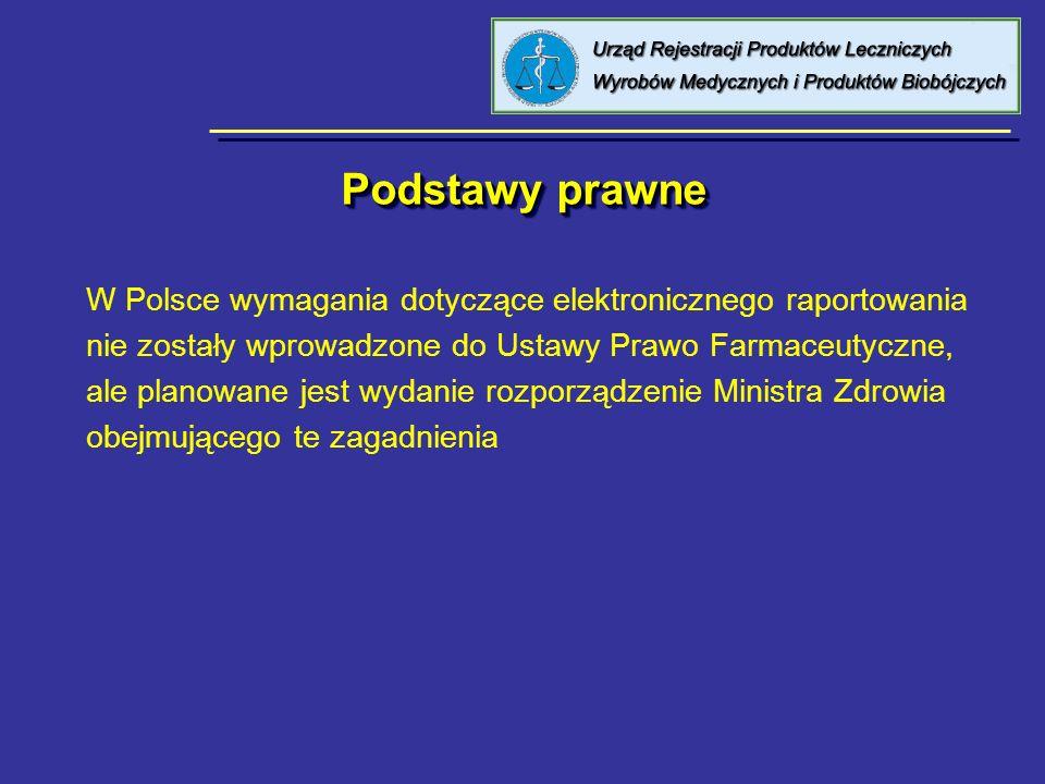 Podstawy prawne W Polsce wymagania dotyczące elektronicznego raportowania nie zostały wprowadzone do Ustawy Prawo Farmaceutyczne, ale planowane jest w